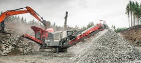Sandvik QJ341+ Mobile jaw crusher working in a quarry