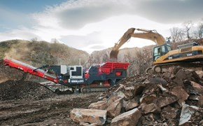 Sandvik QJ341 Mobile jaw crusher in a quarrying application in Scotland