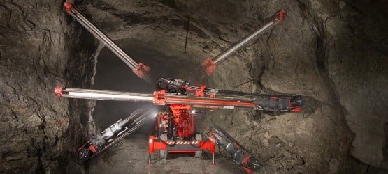 Narrow vein drill rig